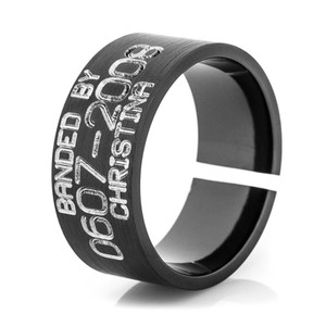 Men's Black Split Back Duck Band Ring