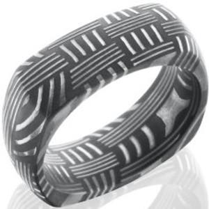 Men's Square Acid Finish Basket Weave Damascus Steel Ring