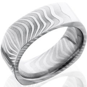 Men's Square Tiger Stripes Damascus Steel Ring