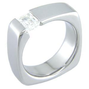 Squared Tension Set Titanium Ring