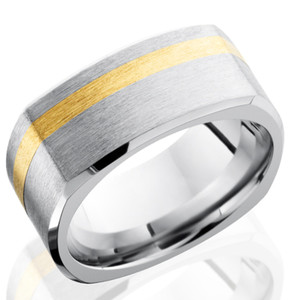 Men's Square Cobalt Band with Offset Gold Inlay