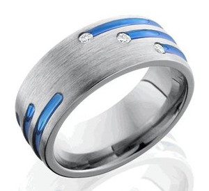 Grooved and Staggered Titanium Diamond Ring