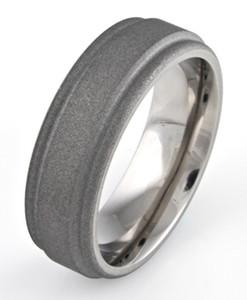 Men's Step Down Titanium Sandblasted Ring