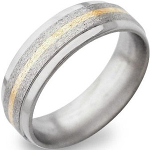 Stone Finish Titanium Ring with Gold