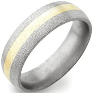 Titanium Stone Finish Ring with Gold Inlay