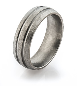 Stone Finish Titanium Ring with Dual Grooves