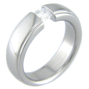 Tension Set Titanium Ring with Beveled Edges