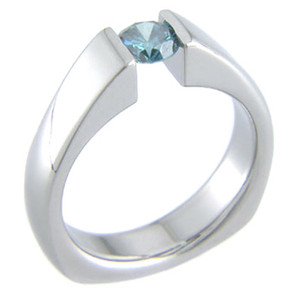 Tension Set Titanium Ring with Squared Back