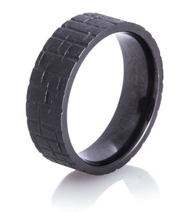 Textured Flat Black Wedding Ring