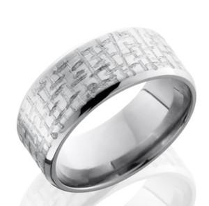 Beveled Textured Titanium Ring