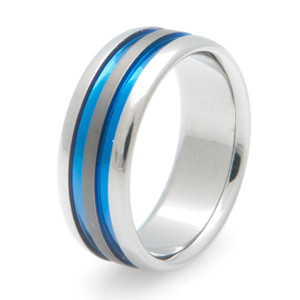Sable Titanium Wide Blue Line Wedding Band