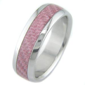 Titanium and Pink Carbon Fiber ring