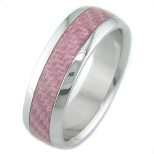 Titanium and Pink Carbon Fiber ring