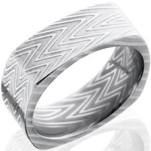 Men's Square Zebra Pattern Damascus Steel Ring