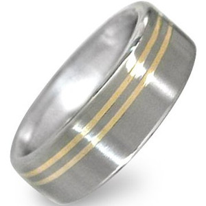 Offset Titanium Gold Inlay Ring 2