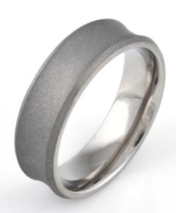 Men's Concave Titanium Sandblasted Ring
