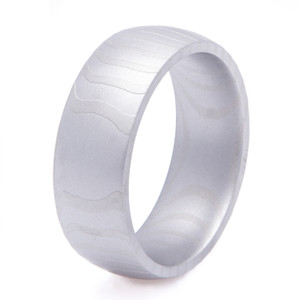 Men's Sandblasted Tiger Stripes Damascus Steel Ring