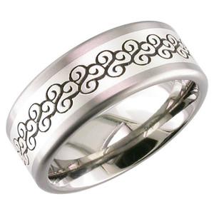 Titanium & Silver Laser Engraved Ring