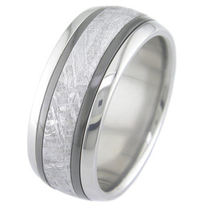 Men's Titanium Meteorite Ring with Dual Black Zirconium Inlays