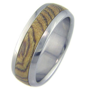 Men's Dome Profile Titanium and Bocote Wood Ring