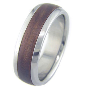 Men's Dome Profile Titanium and Bolivian Rosewood Ring