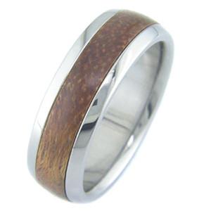 Men's Dome Profile Titanium and Brazilian Cherry Wood Ring