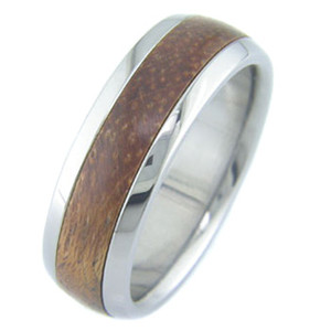 Men's Dome Profile Titanium and Brazilian Cherry Wood Ring