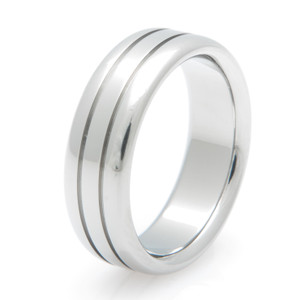 Titanium Ring with Carved Center Grooves
