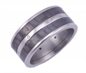 Titanium Ring with Dual Carbon Fiber and Diamonds