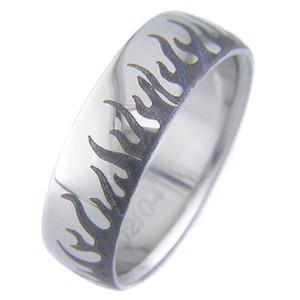 Laser Engraved Flame Ring