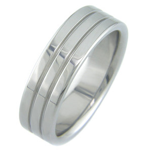 Flat Titanium Ring with Three Stripes