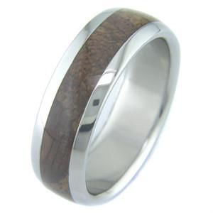 Men's Dome Profile Titanium and Koa Wood Wedding Ring