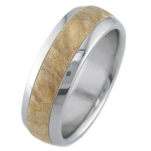 Men's Dome Profile Titanium and Burled Maple Ring