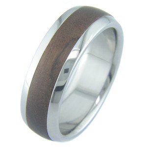 Men's Dome Profile Titanium and Walnut Ring