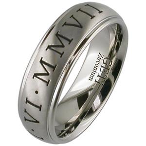 Titanium Roman Numeral Ring