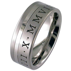 Titanium Roman Numeral Ring Offset