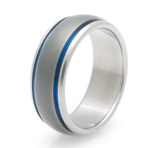 Sable Finish Blue Titanium Wedding Band