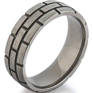 Titanium Brick Pattern Ring