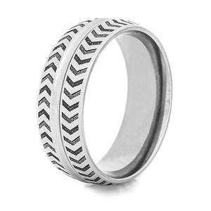 Titanium Chevron Pattern Ring