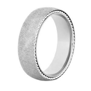 Men's Gunmetal Titanium Lasso Ring with Sterling Silver Braids