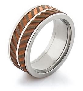 Men's Titanium and Copper Dual Spinner Ring