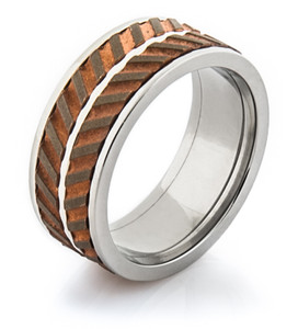Men's Titanium and Copper Dual Spinner Ring