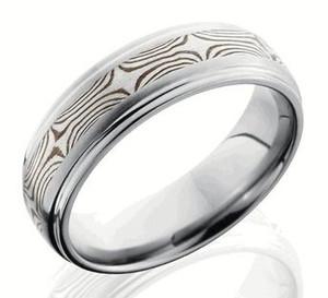 Titanium Ring with Sterling and Shakudo Mokume Gane