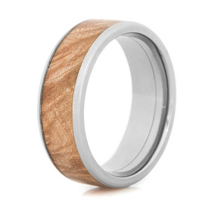 Men's Beveled Edge Polished Titanium and Maple Wedding Ring