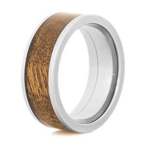 Men's Flat Profile Polished Titanium and Canxan Negro Burl Wood Ring