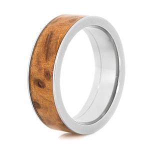 Men's Polished Titanium Flat Profile Thuya Burl Wood Inlay Ring