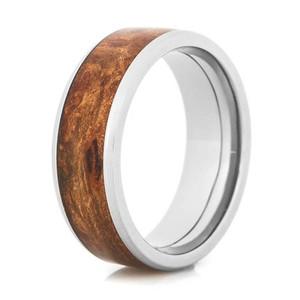 Men's Beveled Edge Polished Titanium and Maple Inlay Wedding Band