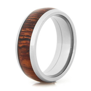 Men's Dome Profile Polished Titanium Cocobolo Wood Inlay Wedding Ring