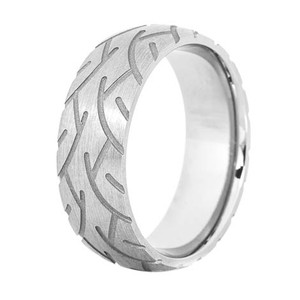 Men's Titanium Super Slick Tire Tread Ring