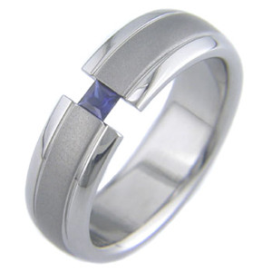 Titanium Tension Set Ring with Princess Cut Stone